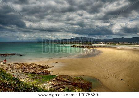Ocean coast in the north west of Spain, Galicia region, Foz urban beach