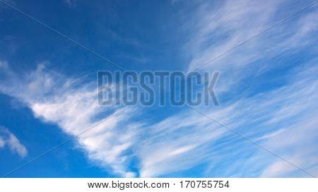 View in clouds in blue sky