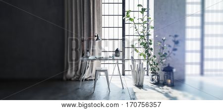 Wide angle view of desk and stool next to houseplant by windows in modern apartment with sunlight. 3d Rendering.