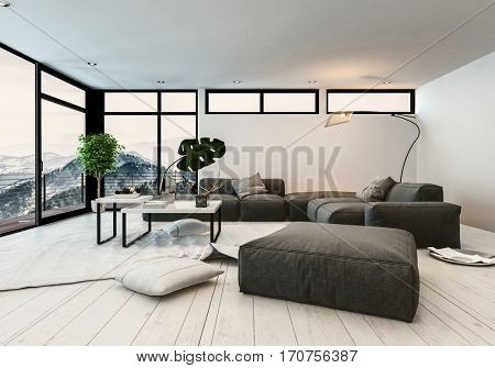 Modern designer living room interior with panoramic glass windows overlooking a vista of mountain peaks furnished with comfortable upholstered lounge furniture on a white parquet floor. 3d rendering.