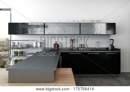 Stylish modern kitchenette with black cabinets and modern small appliances in a large open plan living area with view window, 3d Rendering.