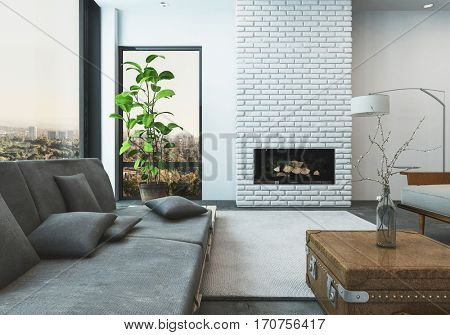 Luxurious living room of stylish high rise modern apartment with a view of city skyline. 3d Rendering.