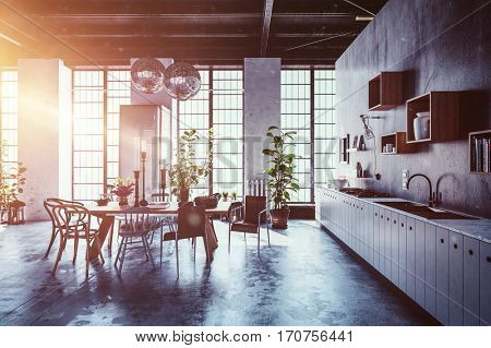 Interior scene of spacious kitchen with table, chairs, plants and large windows. Includes flare of bright light in corner. 3d Rendering.