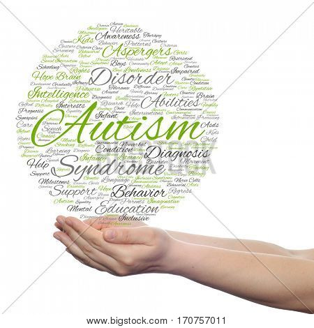 Concept conceptual childhood autism syndrome symtoms disorder abstract word cloud held in hands isolated on background metaphor to communication, social, behavior, care, autistic, speech or difference