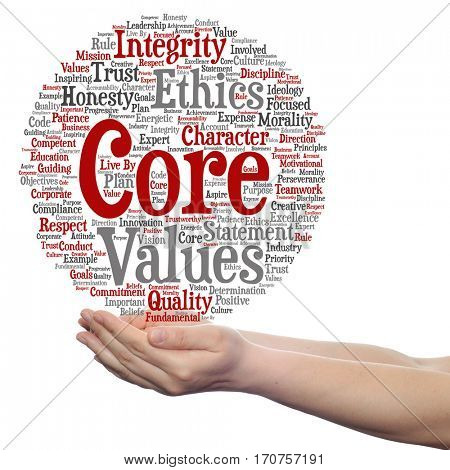 Conceptual core values integrity ethics circle concept word cloud in hands isolated on background metaphor to honesty, quality, trust, statement, character, important, perseverance respect trustworthy