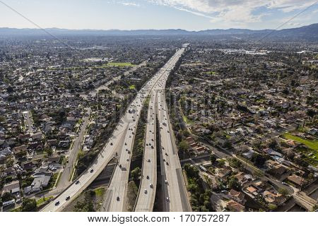 Aerial view of Route 118 freeway crossing the San Fernando Valley in Los Angeles, California.