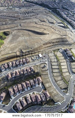 Aerial view of new suburb construction in the Porter Ranch San Fernando Valley area of Los Angeles California.