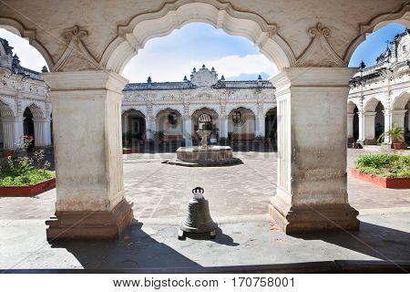 ANTIGUA, GUATEMALA-DEC 23, 2015: Massive columns and arches of colonial buildings in Antigua on Dec 23, 2015, Guatemala. Central America.