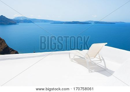 Chaise Lounge On The Terrace With Sea View