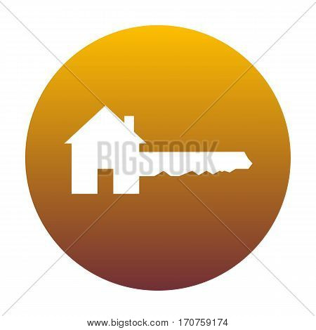Home Key sign. White icon in circle with golden gradient as background. Isolated.