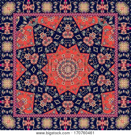 Indian tablecloth with flower - mandala. Rug scarf pillowcase. Bandana red and blue print.