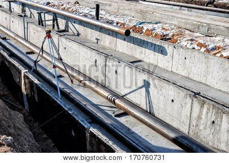 steel pipes on a newly built industrial enterprises