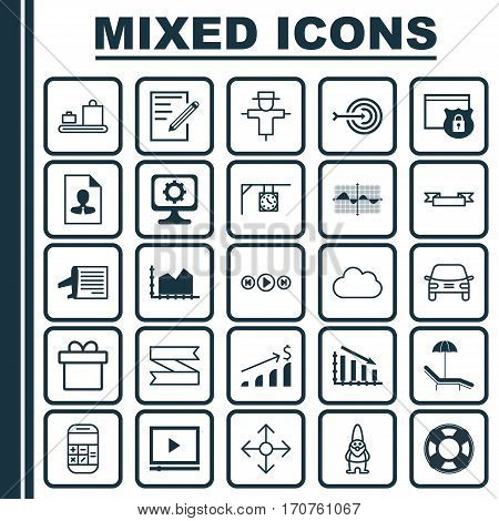 Set Of 25 Universal Editable Icons. Can Be Used For Web, Mobile And App Design. Includes Elements Such As Video Player, Timetable, Fail Graph And More.