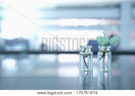 two glass vial with white flower in science laboratory background