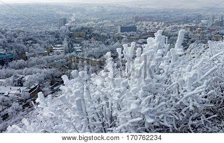 View on Pyatigorsk city in winter dayCaucasusRussia.
