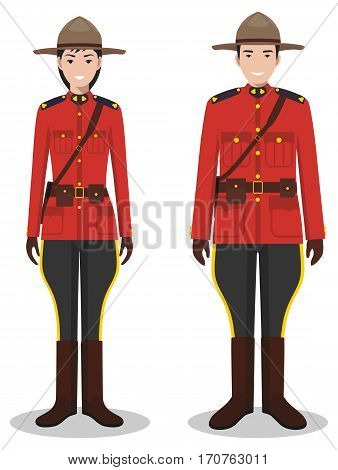 Couple of canadian police people isolated on white background. Set of policeman and policewoman standing together. Cute and simple in flat style.