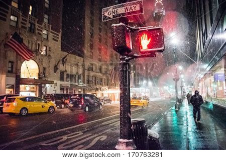 NEW YORK-FEBRUARY 9 - A Winter storm early morning as seen from Lexington Ave on February 9 2017 in New York City.