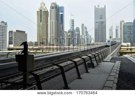 Dubai, United Arab Emirates - February 11, 2017, The Dubai Metro is a driverless, fully automated metro rail network in Dubai, United Arab Emirates