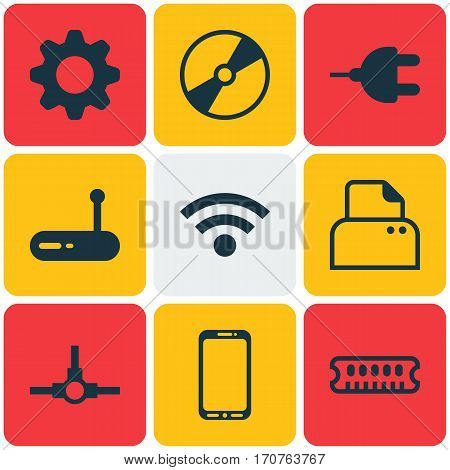 Set Of 9 Computer Hardware Icons. Includes Cd-Rom, Router, Wireless And Other Symbols. Beautiful Design Elements.