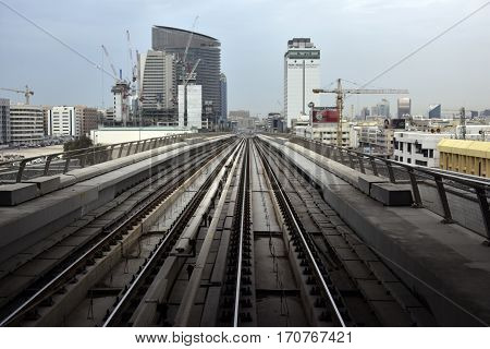 Dubai, United Arab Emirates - February 19, 2017, The Dubai Metro is a driverless, fully automated metro rail network in Dubai, United Arab Emirates
