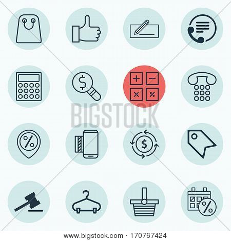 Set Of 16 Ecommerce Icons. Includes Black Friday, Price Stamp, Finance And Other Symbols. Beautiful Design Elements.