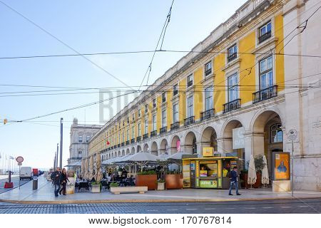 Lisbon, Portugal.- January 1,2017: Old Town Lisbon on January 1,2017. street view of typical houses in Lisbon, Portugal, Europe