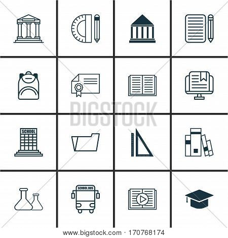 Set Of 16 School Icons. Includes Taped Book, Transport Vehicle, E-Study And Other Symbols. Beautiful Design Elements.