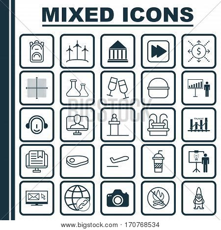 Set Of 25 Universal Editable Icons. Can Be Used For Web, Mobile And App Design. Includes Elements Such As Steak, Camera, Package And More.