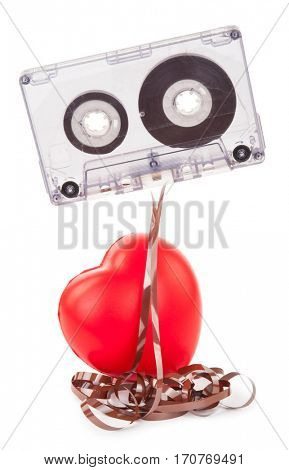 audio tape cassette and a red heart