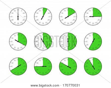 Set of timers. Full rotation arrow timer flat icons. Vector Illustration.