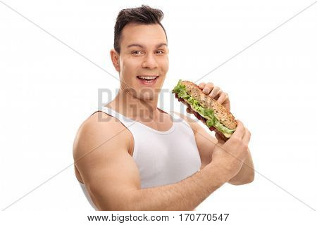Happy man having a sandwich isolated on white background