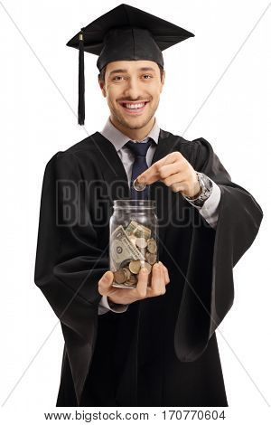 Graduate student putting a coin into a jar isolated on white background