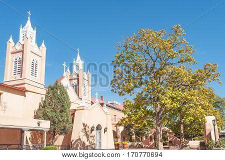 Spanish San Felipe de Neri church in Albuquerque historic Old Town, NM