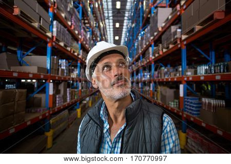 Portrait of worker is looking up in a warehouse