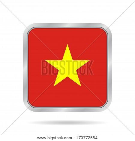 National flag of Vietnam. Shiny metallic gray square button with shadow.
