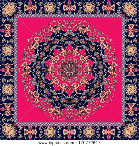 Carpet. Tablecloth. Shawl. Bandana. Vector. Boho style. Mandala and frame.