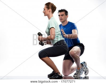 couple man and woman exercising workout on white background