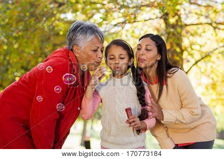Daughter with mother and grandmother blowing bubbles at park