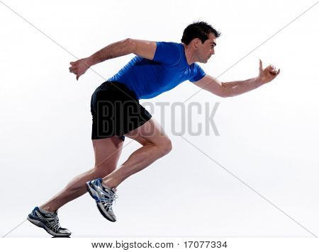 man running on studio white isolated background poster