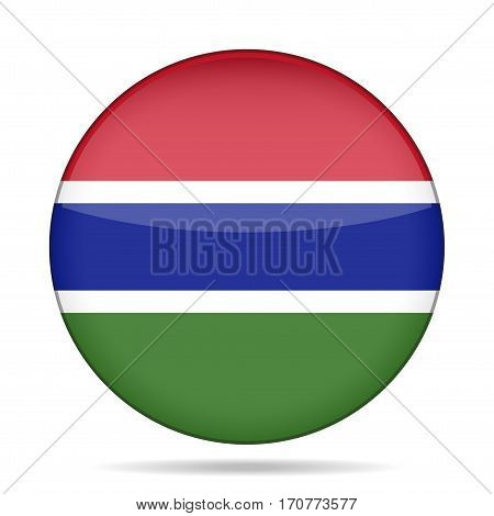 National flag of Gambia. Shiny round button with shadow.