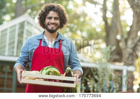 Portrait of happy male gardener holding vegetables crate outside greenhouse