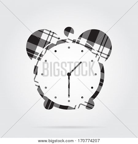 grayscale gray black isolated tartan icon with white stripes - alarm clock and shadow in front of a gray background