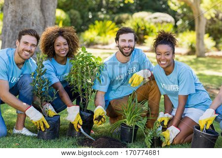 Portrait of volunteer group planting in park