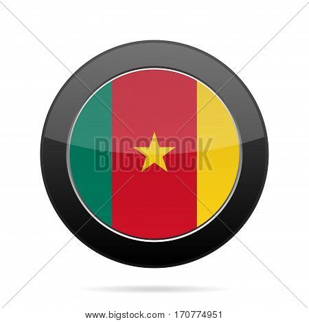 National flag of Cameroon. Shiny black round button with shadow.