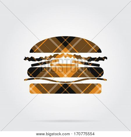yellow black isolated tartan icon with white stripes - hamburger and shadow in front of a gray background