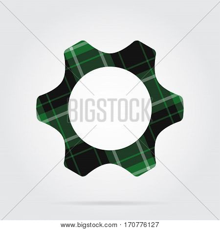 green black isolated tartan icon with white stripes - cogwheel and shadow in front of a gray background
