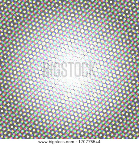 Halftone pattern background with radial effect, round spot shapes, vintage or retro graphic with place for your text. Halftone digital effect. Vector set of halftone dots with RGB color
