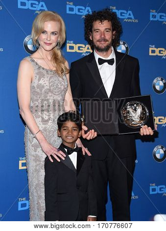LOS ANGELES - FEB 04:  Garth Davis, Nicole Kidman and Sunny Pawar in the press room at the 69th Annual DGA Awards on February 4, 2017 in Beverly Hills, CA