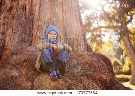Portrait of boy hugging knees while sitting on tree trunk at park