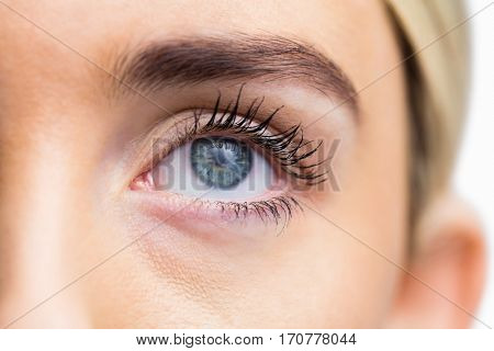 Focus on womans eye with opened eyes in a studio